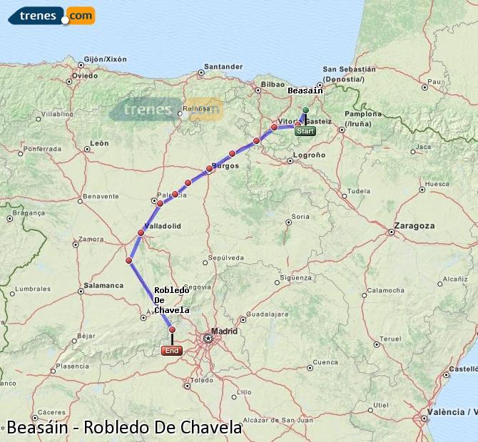 Agrandir la carte Trains Beasáin Robledo De Chavela