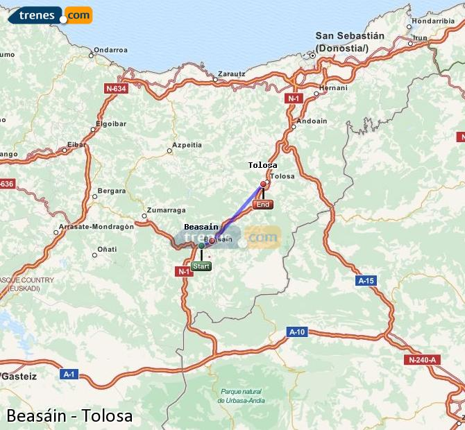 Enlarge map Trains Beasin to Tolosa