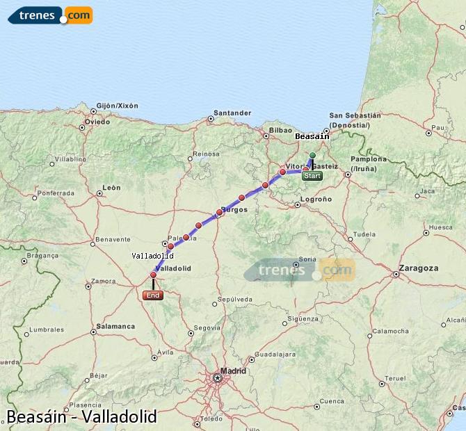 Ampliar mapa Comboios Beasáin Valladolid