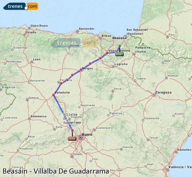 Ampliar mapa Comboios Beasáin Villalba De Guadarrama