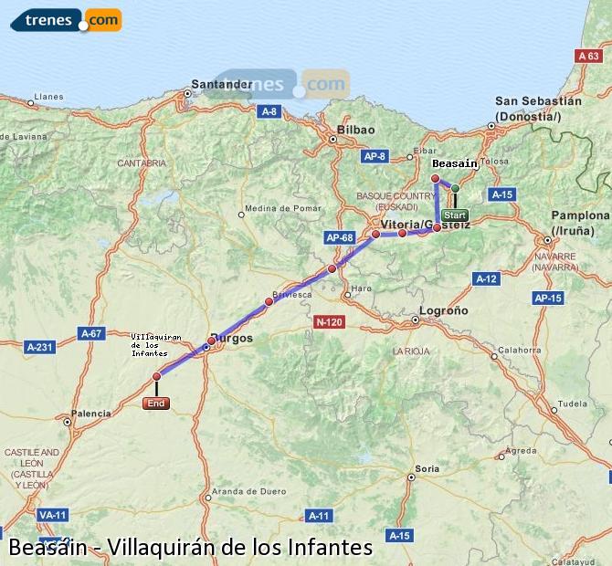 Ingrandisci la mappa Treni Beasáin Villaquirán de los Infantes