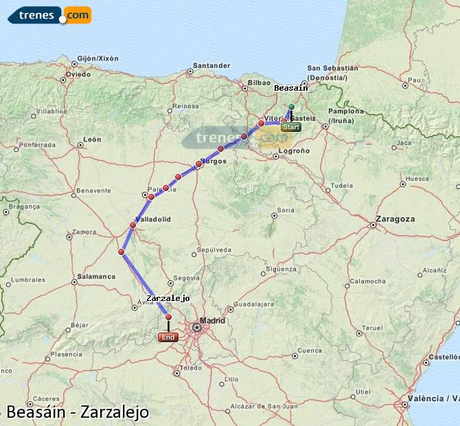 Enlarge map Trains Beasin to Zarzalejo