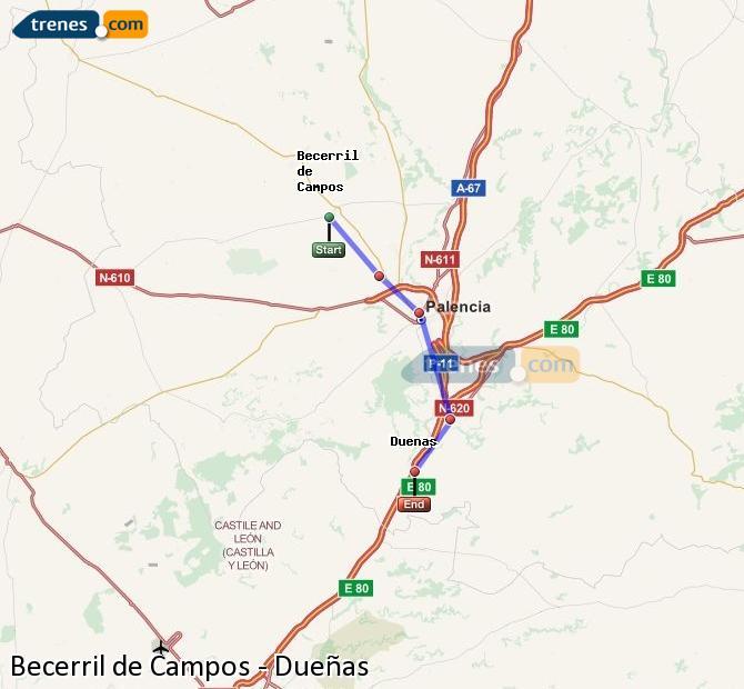 Karte vergrößern Züge Becerril de Campos Dueñas