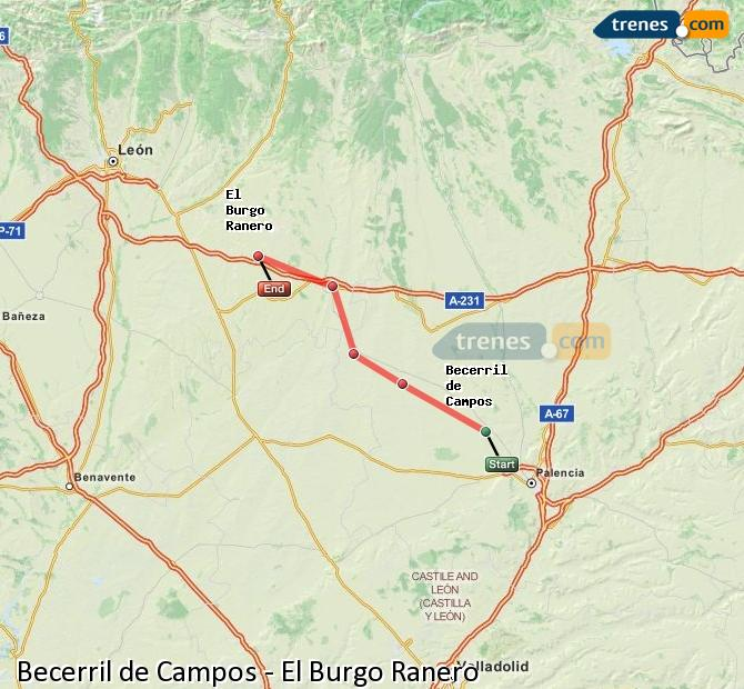 Karte vergrößern Züge Becerril de Campos El Burgo Ranero
