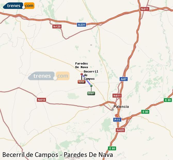 Agrandir la carte Trains Becerril de Campos Paredes De Nava