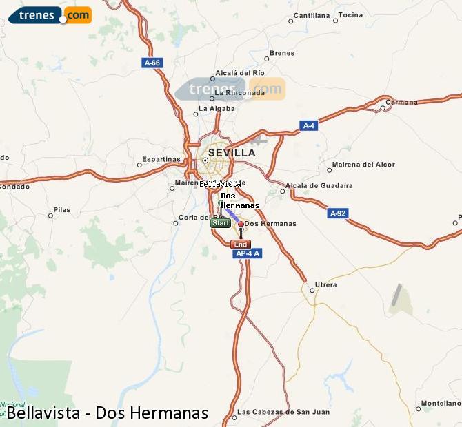 Enlarge map Trains Bellavista to Dos Hermanas