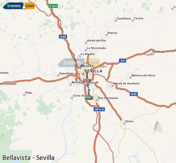 Enlarge map Trains Bellavista to Seville