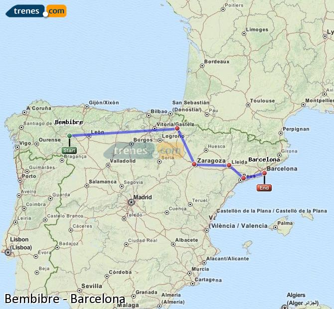 Agrandir la carte Trains Bembibre Barcelone