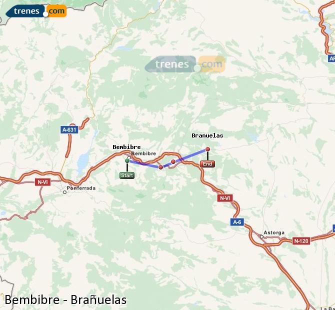 Agrandir la carte Trains Bembibre Brañuelas