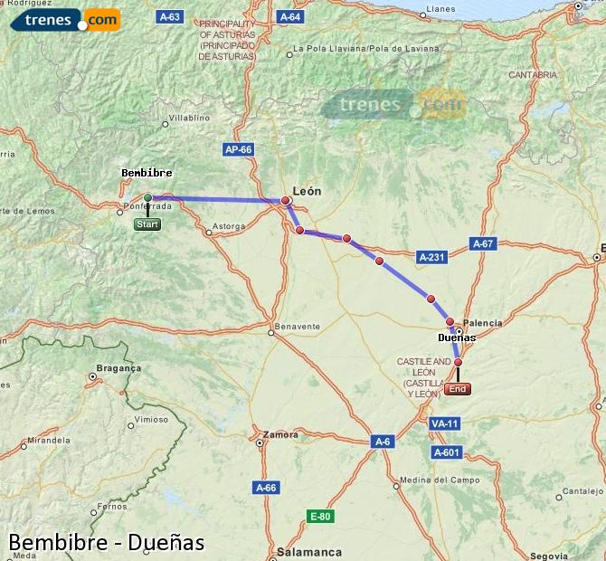 Enlarge map Trains Bembibre to Dueñas