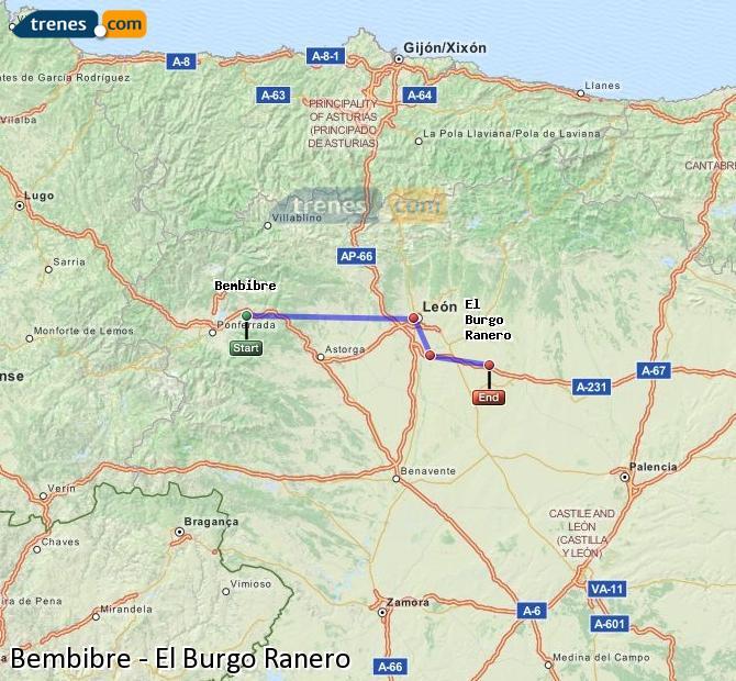 Karte vergrößern Züge Bembibre El Burgo Ranero