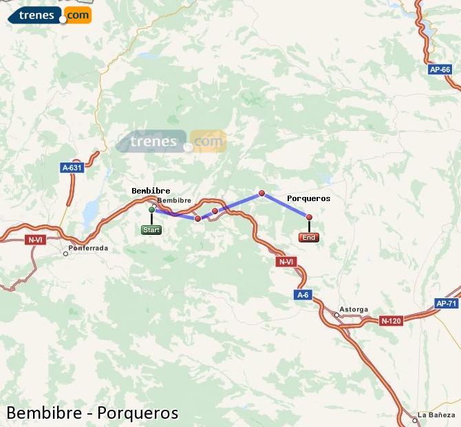Ingrandisci la mappa Treni Bembibre Porqueros