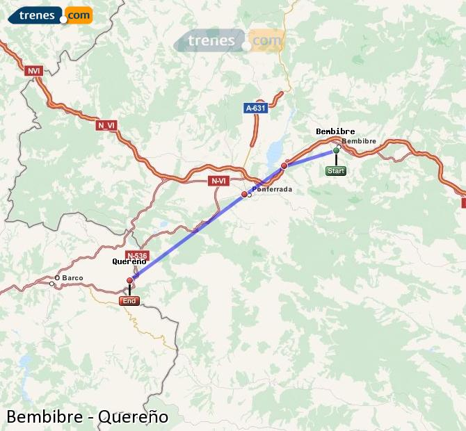 Karte vergrößern Züge Bembibre Quereño