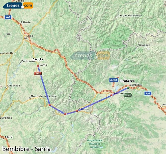 Enlarge map Trains Bembibre to Sarria
