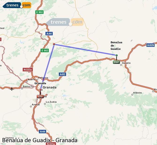 Agrandir la carte Trains Benalúa de Guadix Granada