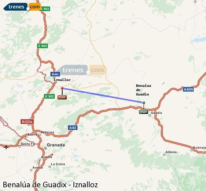 Agrandir la carte Trains Benalúa de Guadix Iznalloz