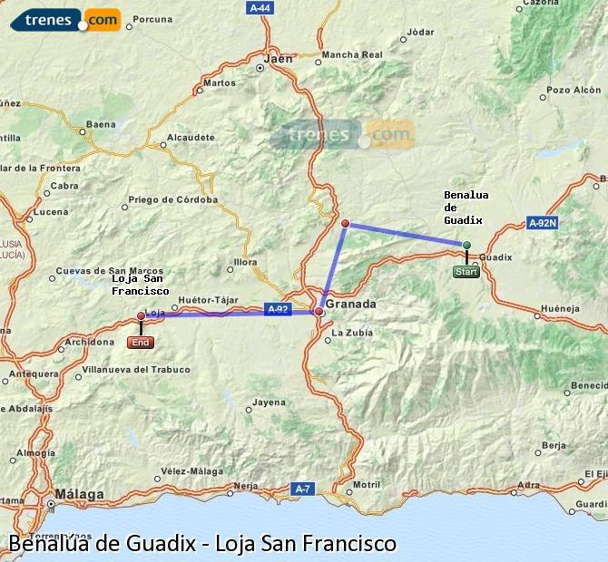 Ingrandisci la mappa Treni Benalúa de Guadix Loja San Francisco