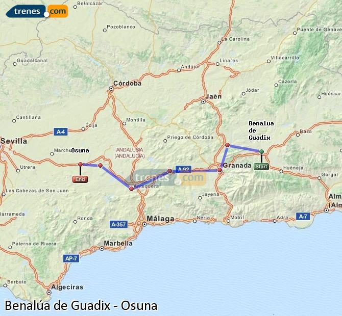 Ampliar mapa Comboios Benalúa de Guadix Osuna