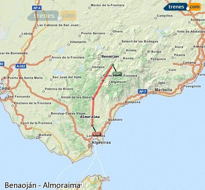 Ingrandisci la mappa Treni Benaoján Almoraima