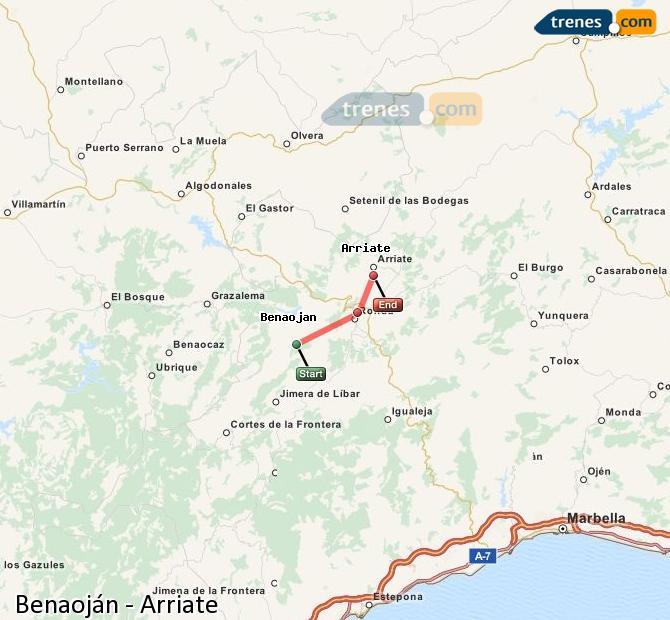Ampliar mapa Trenes Benaoján Arriate