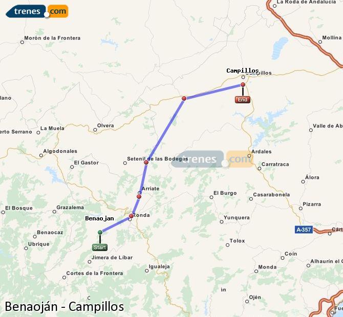 Enlarge map Trains Benaojan to Campillos