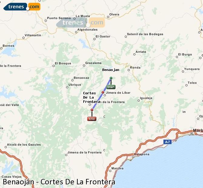 Enlarge map Trains Benaojan to Cortes De La Frontera