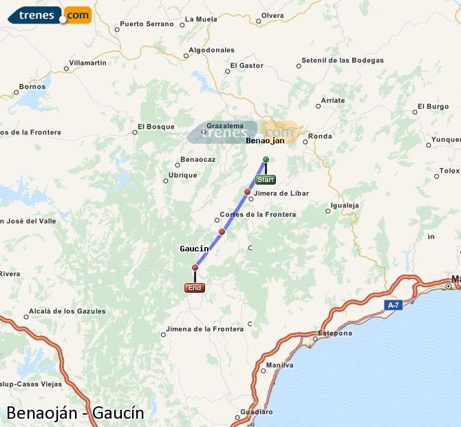 Enlarge map Trains Benaojan to Gaucín