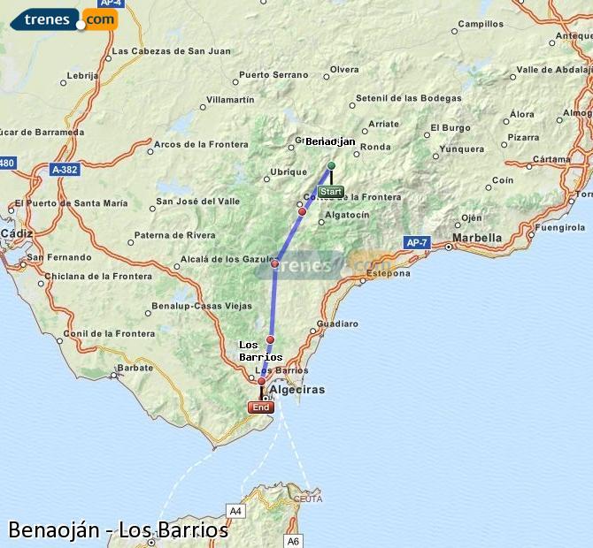 Ingrandisci la mappa Treni Benaoján Los Barrios