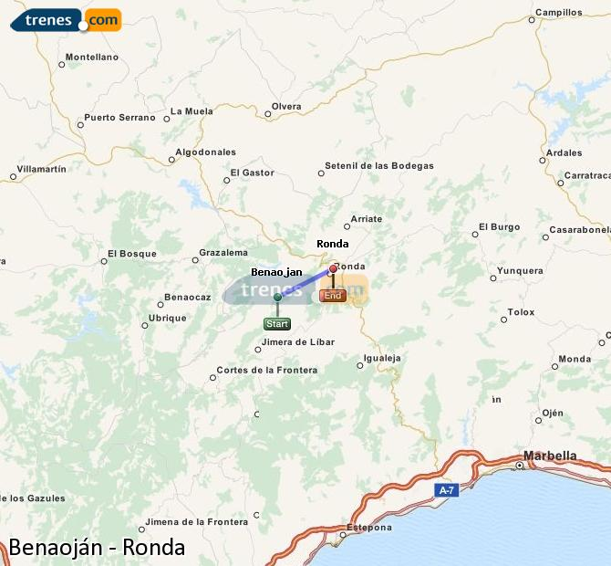 Enlarge map Trains Benaojan to Ronda