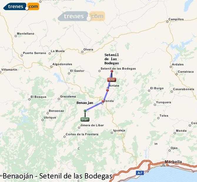 Agrandir la carte Trains Benaoján Setenil de las Bodegas