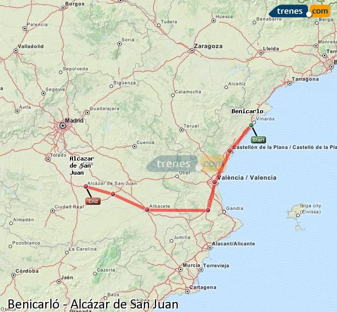 Ingrandisci la mappa Treni Benicarló Alcázar de San Juan