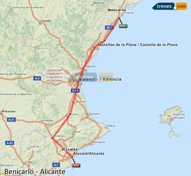 Karte vergrößern Züge Benicarló Alicante