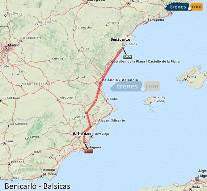 Agrandir la carte Trains Benicarló Balsicas