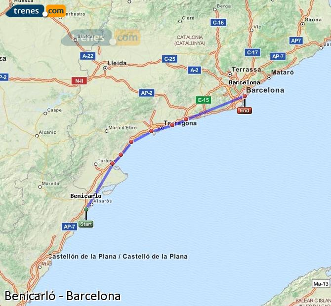 Enlarge map Trains Benicarló to Barcelona