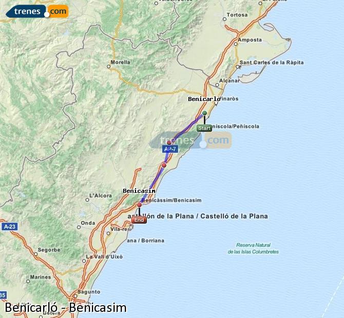Ingrandisci la mappa Treni Benicarló Benicasim
