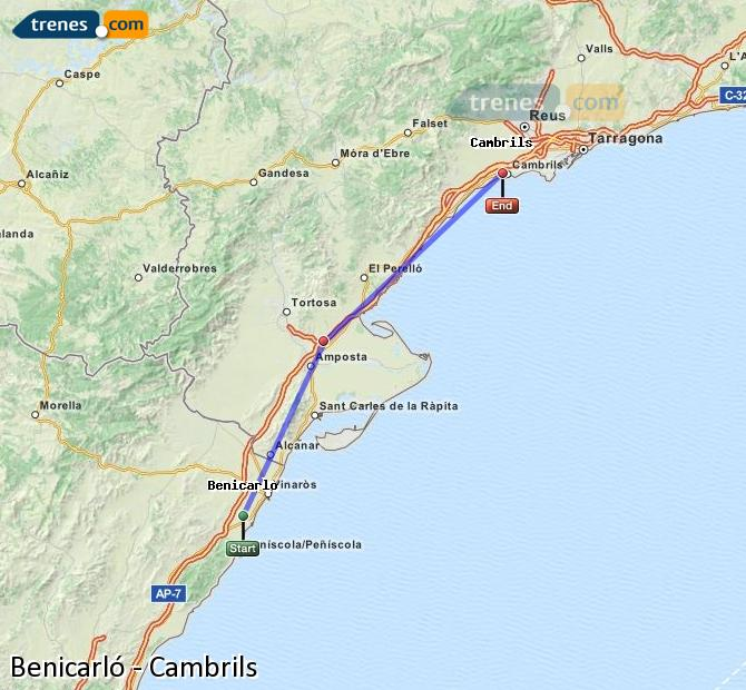 Enlarge map Trains Benicarló to Cambrils
