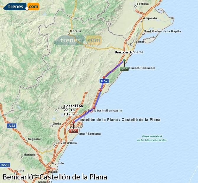 Enlarge map Trains Benicarló to Castellón