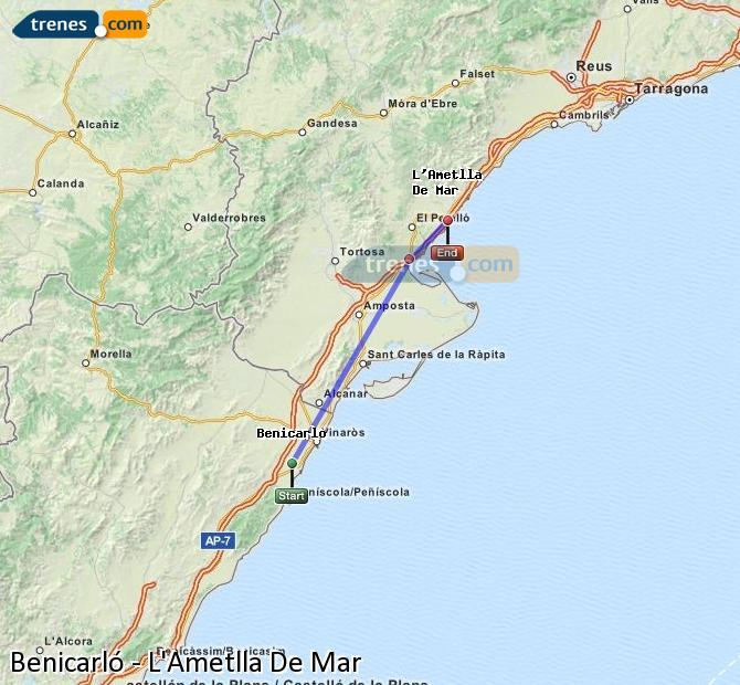 Karte vergrößern Züge Benicarló L'Ametlla De Mar