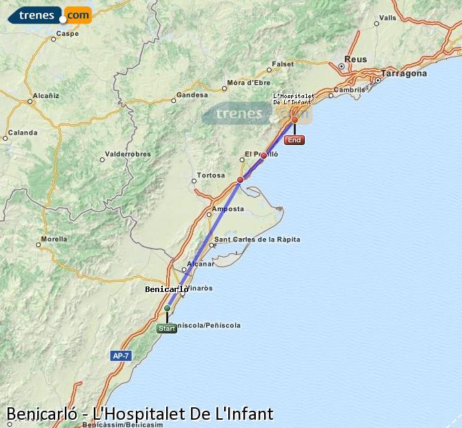Agrandir la carte Trains Benicarló L'Hospitalet De L'Infant
