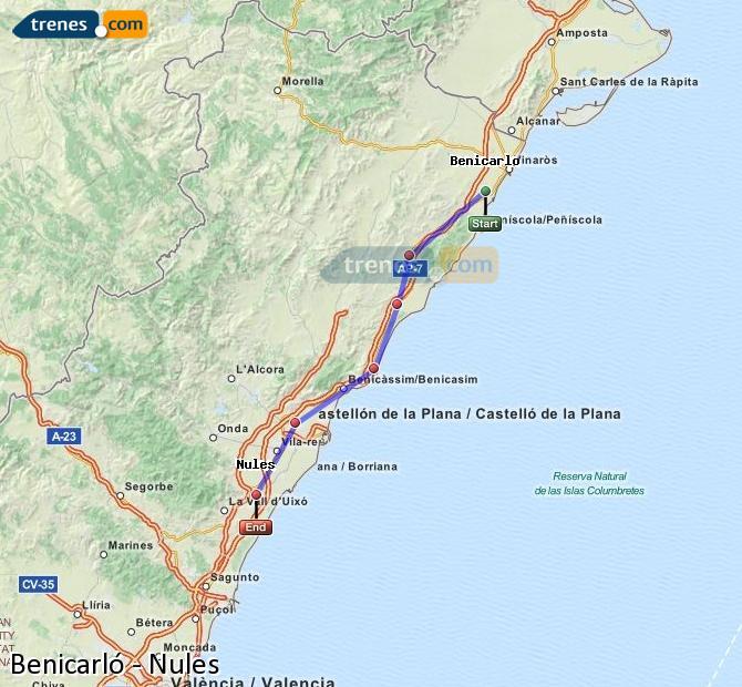 Enlarge map Trains Benicarló to Nules