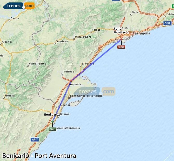 Karte vergrößern Züge Benicarló Port Aventura