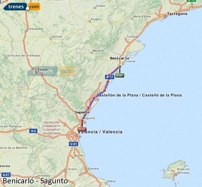 Agrandir la carte Trains Benicarló Sagunto