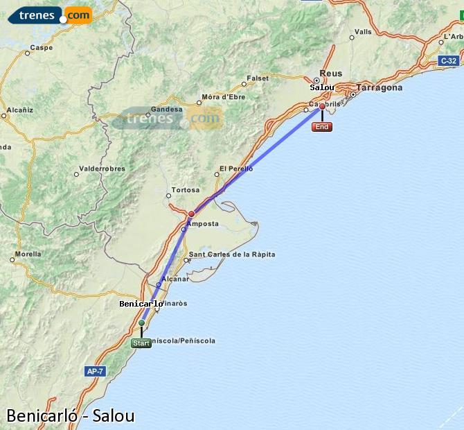 Ampliar mapa Trenes Benicarló Salou