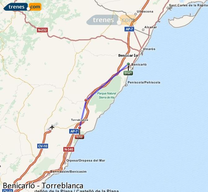 Enlarge map Trains Benicarló to Torreblanca