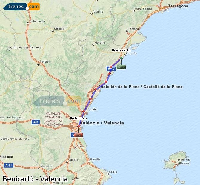 Enlarge map Trains Benicarló to Valencia