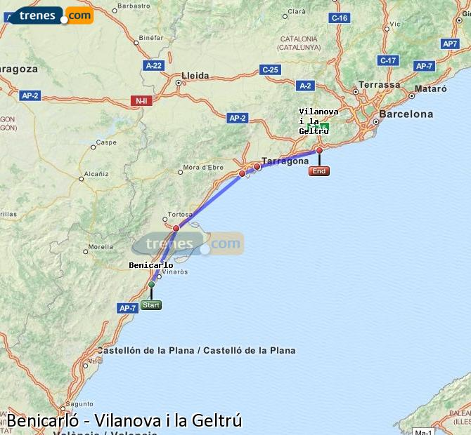 Agrandir la carte Trains Benicarló Vilanova i la Geltrú