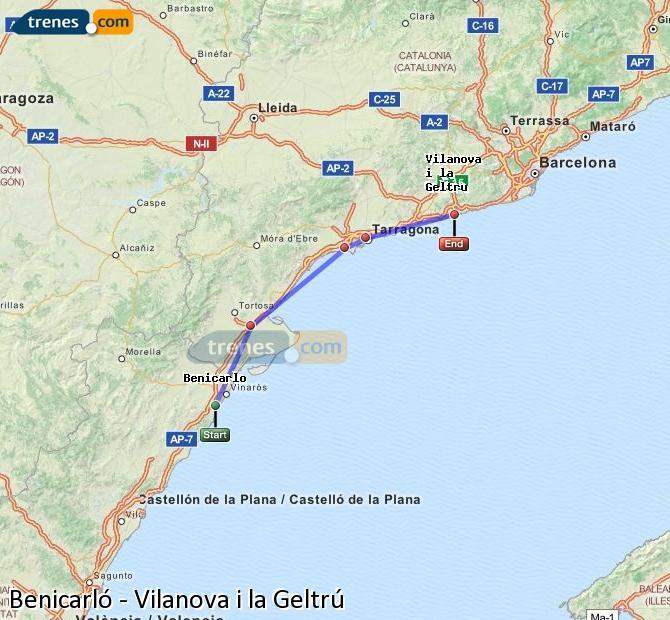 Enlarge map Trains Benicarló to Vilanova i la Geltrú