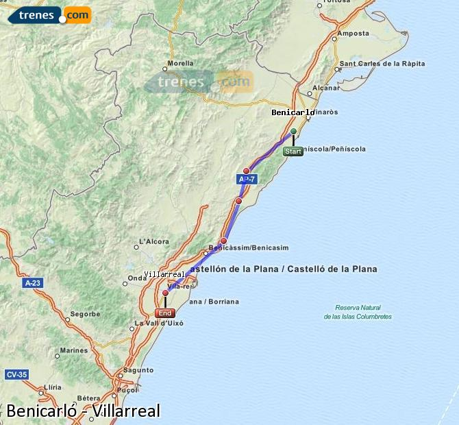 Karte vergrößern Züge Benicarló Villarreal