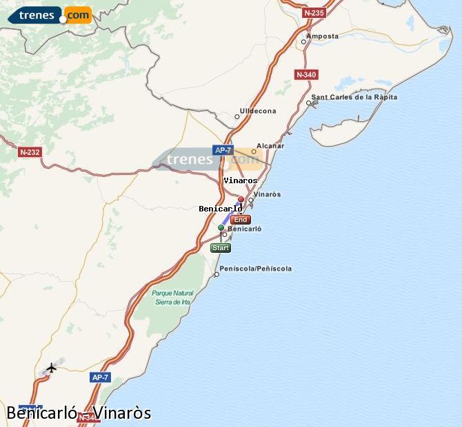 Enlarge map Trains Benicarló to Vinaròs