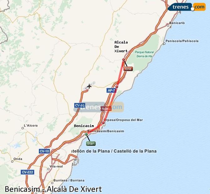Enlarge map Trains Benicasim to Alcalà De Xivert